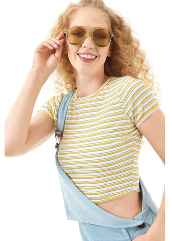 Bright & Beautiful Emma 70's Crop Top Yellow