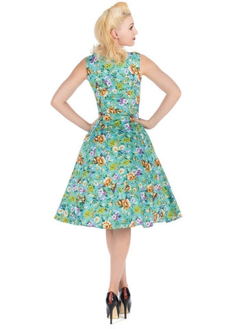 Hearts & Roses Karina Turquoise Floral Dress