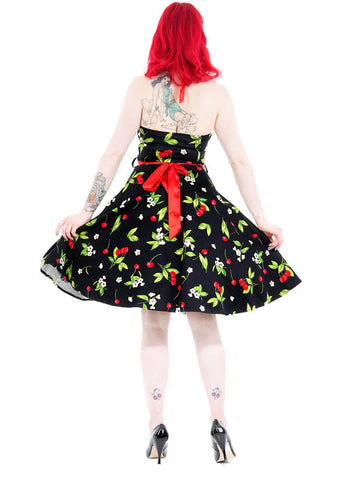 Hearts & Roses Classic Cherry 50's Swing Dress Black