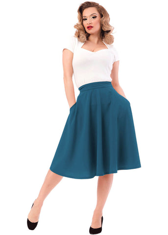 Rock Steady Clothing High Waist Thrills 50's Swing Skirt Dark Teal
