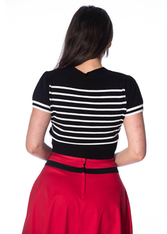 Banned Sailor Stripe Tie 50's Top Black