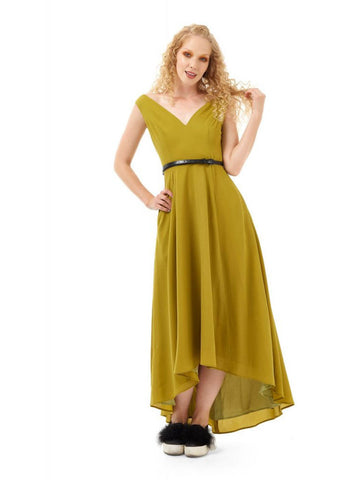 Bright & Beautiful Isabella 70's Maxi Dress Green