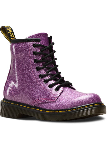 Dr. Martens Junior 1460 Coated Glitter Boots Dark Pink