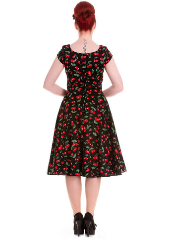 Hell Bunny Cherry Pop 50's Swing Dress Black