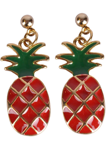 Succubus Pineapple Glossy Earrings Red