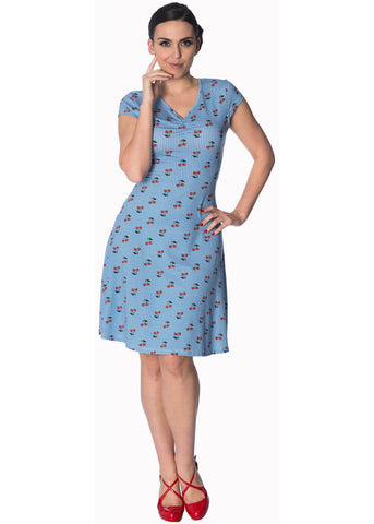 Banned Cherry Love 40's Dress Light Blue