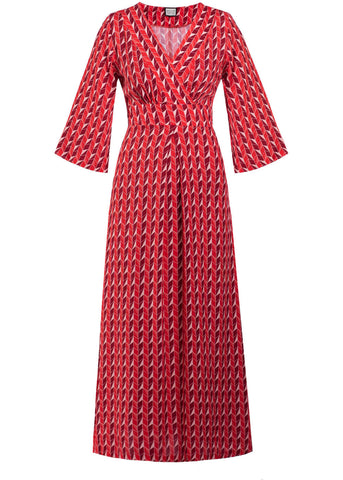 Mademoiselle Yéyé Festival Feeling 70's Maxi Dress Upside Down Red