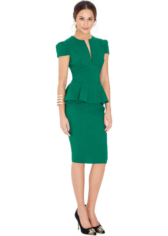 City Goddess Deep Peplum 50's Pencil Dress Emerald