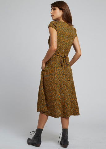 Louche Cathleen Passion Flower 40's Midi Dress Mustard