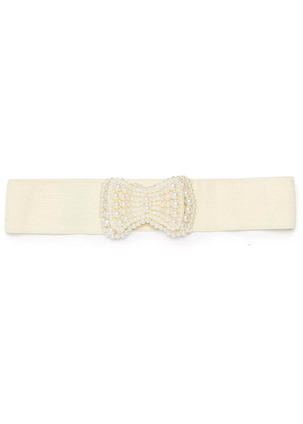 Banned Pearl Elastische 40's Belt Cream