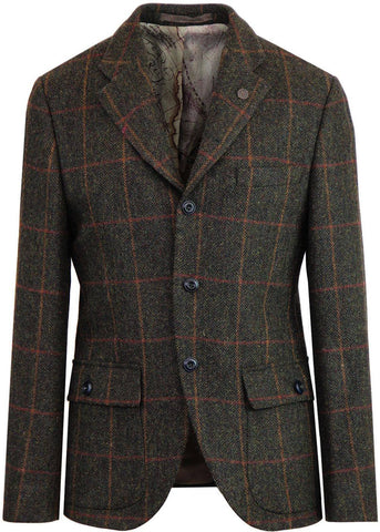 Gibson London Justin Check Colbert Jacket Green