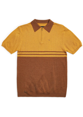 Brixton Mens Allen Knit Polo Brown