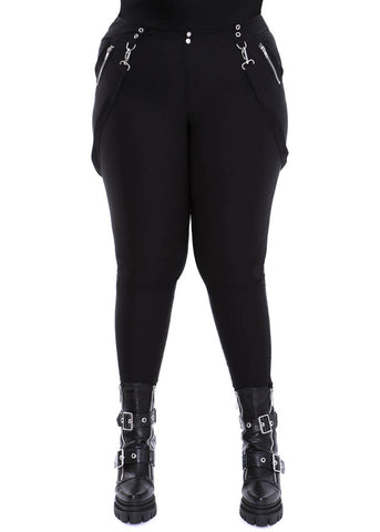 Killstar Jagger Zip Straps 80's Trousers Black