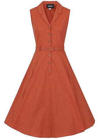 Collectif Caterina 50's Sleeveless Swing Dress Orange