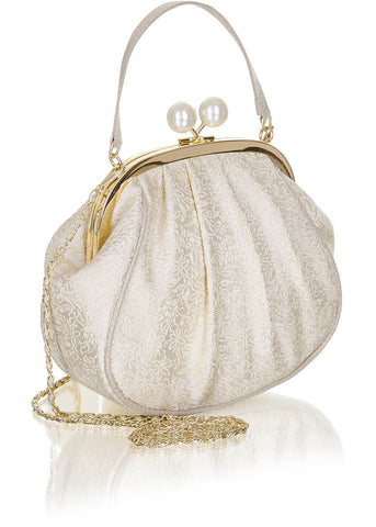 Ruby Shoo Arco Metal Frame Purse Cream Gold