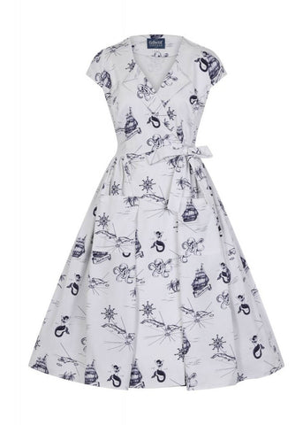 Collectif Joice Ocean Map 50's Swing Dress White Navy