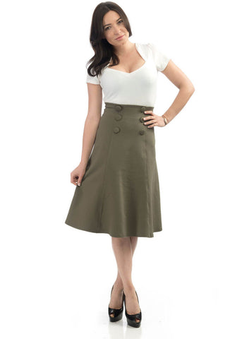 Rock Steady Nora Fit & Flare Skirt Olive Green