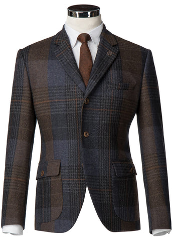 Gibson London Dennis Check Colbert Jacket Brown Blue