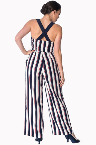 Banned Set Sail 40's Jumpsuit Navy Red White