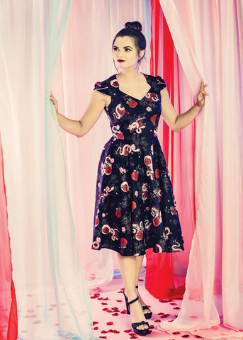 Hell Bunny Python Rose 50's Swing Dress Black