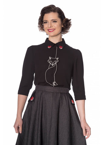 Banned Foxy 50's Blouse Black