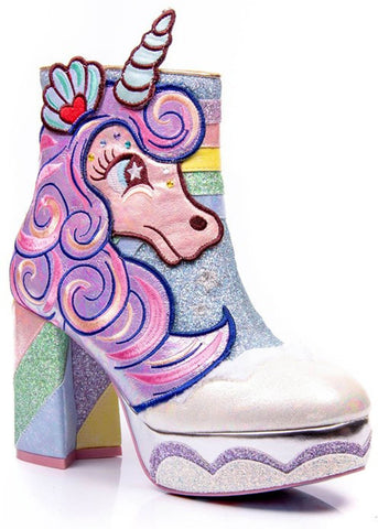 Irregular Choice Daisy Dreams Unicorn Platform Boots Lilac Pink