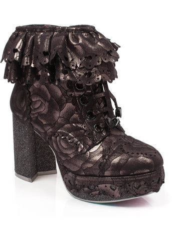 Irregular Choice Frilly Knickers Booties Gold