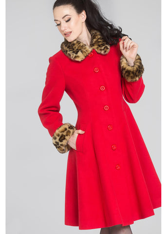 Hell Bunny Robinson Leopard 60's Coat Red