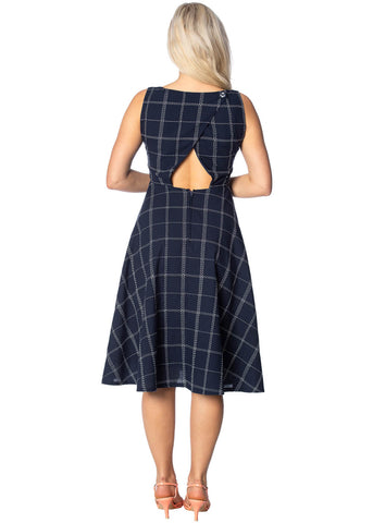 Banned Check Mate 50's Swing Dress Navy
