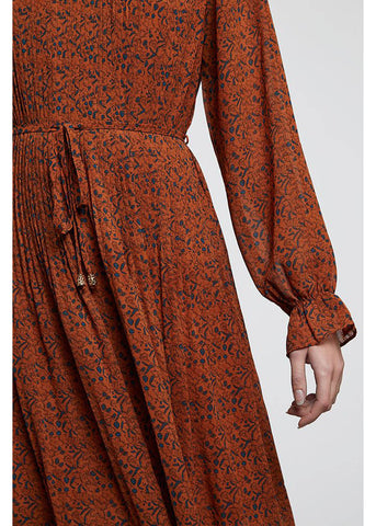 Louche Ouifa Star Leaf 70's Midi Dress Toffee Brown