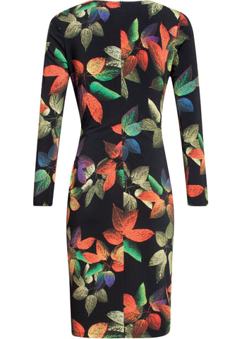 Smashed Lemon Primal Leaves 60's Pencil Dress Black Orange