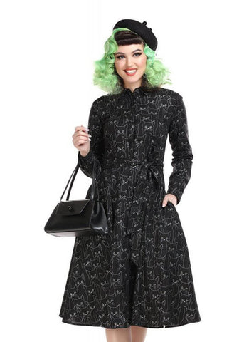 Collectif Mara Cat 50's Swing Dress Black