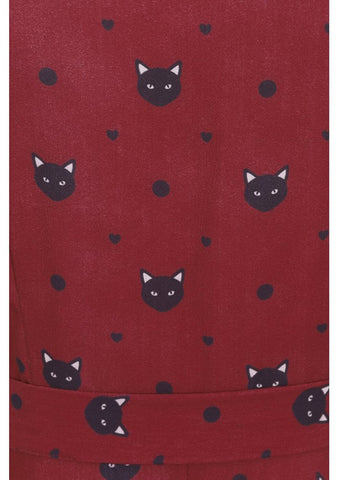 Collectif Mary Grace Polkadot Meow 40's Swing Dress Red