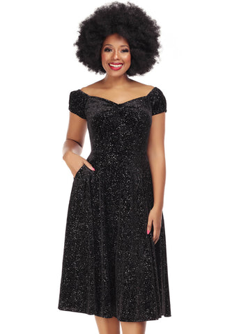 Collectif Dolores Glitter Drops 50's Swing Dress Black