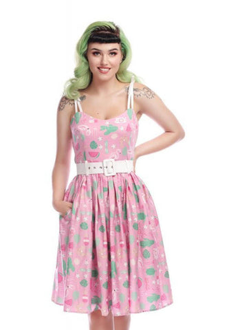 Collectif Jade Summer Flamingo Swing 50's Dress Pink