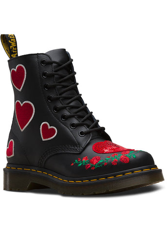 Dr. Martens 1460 Pascal Sequin Hearts Boots Black