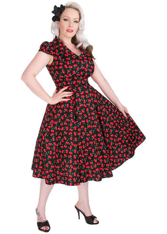 Hearts & Roses Cherry Sweetheart 50's Swing Dress Black