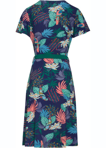 Smashed Lemon Pixel Jungle 60's A-Line Dress Blue Aqua