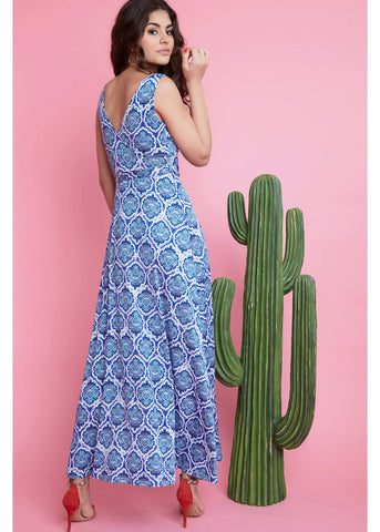 Onjenu Fifi Alhambra 70's Maxi Dress Blue