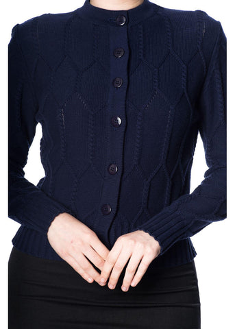 Banned Midnight Daze 40's Cardigan Navy Blue