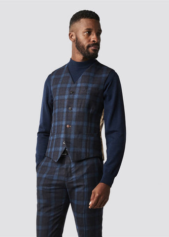 Gibson London Harry Check Waistcoat Teal