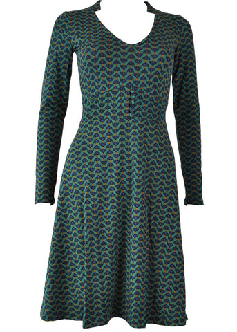 Princesse Nomade Fan 60's A-Line Dress Dark Green