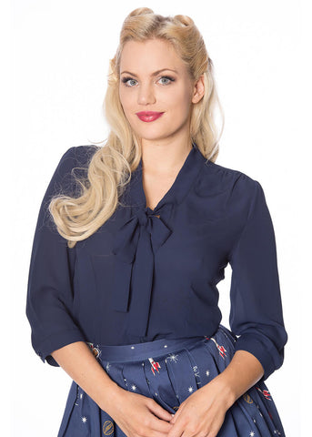 Banned Perfect Pussybow 40's Blouse Navy Blue