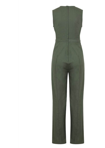 Collectif Gabriella 70's Jumpsuit Olive Green