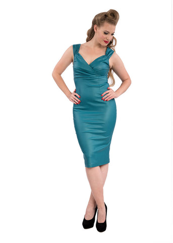 Rock Steady The Devil Wears Diva Leatherlook 50's Pencil Dress Teal