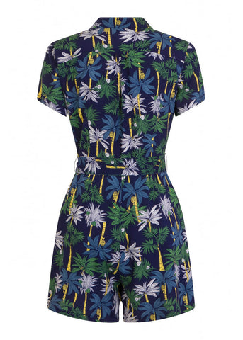 Collectif Frou Palm Tree 50's Playsuit Navy Colour
