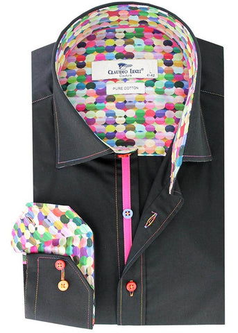 Claudio Lugli Men Shirt Rainbow Stitching Black