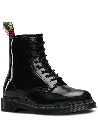 Dr. Martens 1460 Rainbow Patent Lace Up Boots Black
