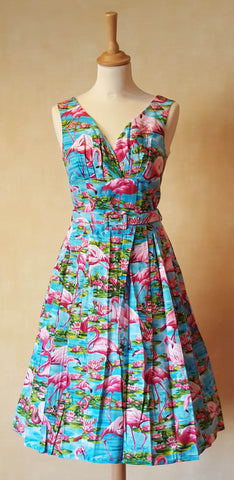 Victory Parade Retro Frock Flamingo Lotus Swing Dress