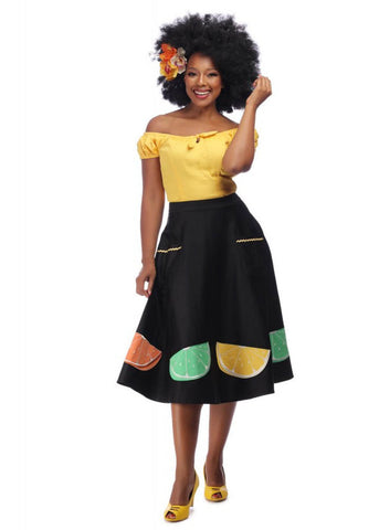 Collectif Silvia Fruit Slice 50's Swing Skirt Black